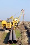 Baustelle mit Erdgasleitung Stockbild