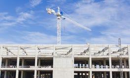 Baustelle mit Kran Stockfoto