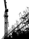 Baustelle mit Kran und Baugerüst Stockfotografie