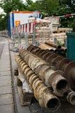Baustelle mit Schneckenwellenbohrgeräten Stockfoto
