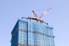 Baustelle mit Turmkran Stockfoto