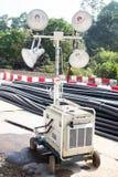 Baustelle-Mobilescheinwerferlicht Stockbild