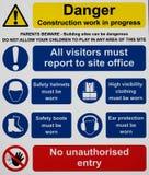 Baustelle-Sicherheits-Zeichen Stockfotografie