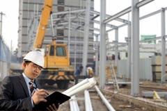 Baustelle und Architekt Stockfotografie