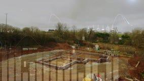 Baustelle und Diagramme stock footage