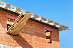 Baustelle und Shell eines Hauses Stockbild