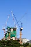 Baustelle und Turmkrane Stockfotografie