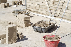 Baustellebereich für luftgetrockneten Ziegelstein u. x28; Schlamm bricks& x29; Technik Lizenzfreies Stockbild