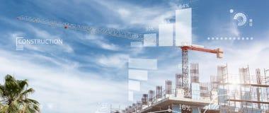 Baustellecollage eines Neubaus Stockbilder