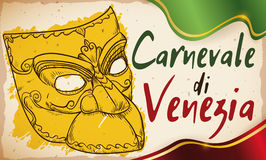 Bauta Mask in Hand Drawn Style for Carnival of Venice, Vector Illustration Royalty Free Stock Photos