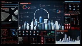 Bautechnologie, errichtende Stadtskyline und machen Stadt im Digitalanzeigenarmaturenbrett