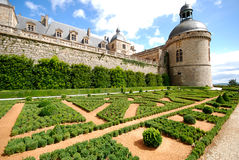 Bautefort Chateu France. Beautiful gardens at the Bautefort Chateu France stock images