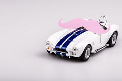 Bautiful blue and white car, roadster with mustache Stock Images