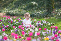 Bautiful funny baby girl playing in field of flowers Stock Photo