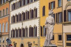 The bautiful Italian style buidlings along River Arno in Florence stock image
