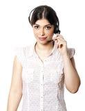 Odosobniona centrum telefoniczne kobieta Zdjęcia Royalty Free