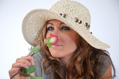 Bautiful Model Smelling A Rose Stock Photography