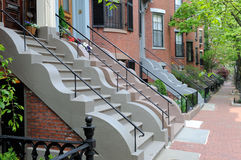 Bautiful Row House Facades, Victorian Architecture. Beautiful row house facades, Victorian architecture of Boston South End. Red brick on sidewalk and building Stock Photography