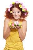 Bautiful smiling redhead ginger woman royalty free stock image