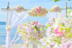 Bautiful wedding set up on the beach Royalty Free Stock Photos