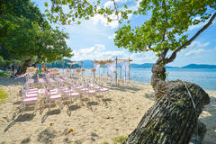 Bautiful wedding set up on the beach Royalty Free Stock Photo