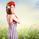 Bautiful woman with tulip hair decoration Royalty Free Stock Image
