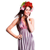 Bautiful woman with tulip hair decoration Stock Images
