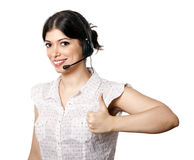 Isolated Call Center Woman Thumbs Up Royalty Free Stock Image