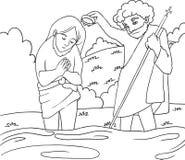 Bautismo de Jesús - lineart de B/W Foto de archivo libre de regalías