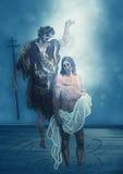 Bautismo de Jesus Christ en Jordan River Arte contemporáneo stock de ilustración