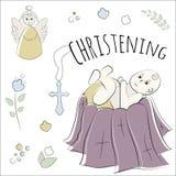 Bautismo del niño en la iglesia, bautizo Sistema del vector de elementos aislados, dibujado a mano Utilizado para las postales, c libre illustration