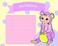 Bautismo, tarjeta de la invitación del bautizo stock de ilustración
