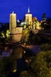 Bautzen bij nacht Stock Afbeelding