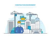 Bauumwelt Steuerung für Prozessgebäudehaus Hochbau, Technik stock abbildung