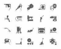 Bauwerkzeuge und Verbrauchsmaterialien, einfarbige Ikonen lizenzfreie abbildung