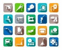 Bauwerkzeuge, Verbrauchsmaterialien, Ikonen, gefärbt, Ebene stock abbildung