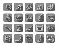 Bauwerkzeuge, Verbrauchsmaterialien, Ikonen, Kontur, grau lizenzfreie abbildung