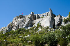 Baux de普罗旺斯城堡废墟-法国 库存图片