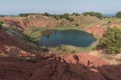 Bauxite cave - Otranto, South Italy stock images