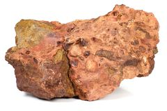 Bauxite. Les Baux-de-Provence bauxite isolated on white background Royalty Free Stock Photography