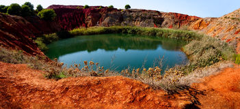 Bauxite Mine with Lake. At Otranto, Apulia, Italy Stock Photography