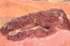 Bauxite mine raw bauxite on surface. Bauxite mine, raw weathered bauxite sedimentary rock on surface Royalty Free Stock Image