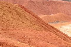 Bauxite mine raw bauxite on surface. Bauxite mine, raw weathered bauxite sedimentary rock on surface Stock Photography