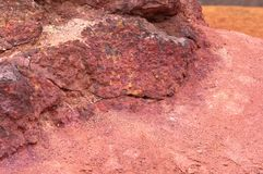 Bauxite mine raw bauxite on surface. Bauxite mine, raw weathered bauxite sedimentary rock on surface Royalty Free Stock Photos