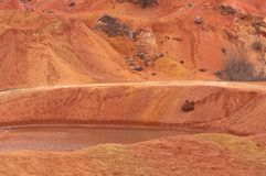 Bauxite mine raw bauxite on surface. Bauxite mine, raw weathered bauxite sedimentary rock on surface Stock Images