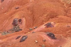 Bauxite mine raw bauxite on surface. Bauxite mine, raw weathered bauxite sedimentary rock on surface Stock Image