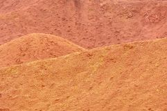 Bauxite mine raw bauxite on surface. Bauxite mine, raw weathered bauxite sedimentary rock on surface Stock Photos