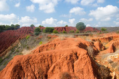 Bauxite mine with red ground Royalty Free Stock Photo