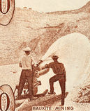 Bauxite Mining. On 10 Dollars 1992 Banknote from Guyana Stock Photography