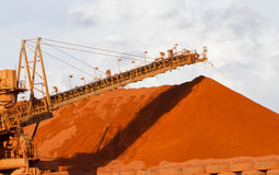 Bauxite mining. Piles of mining Bauxite in Weipa, Queensland, Australia Bauxite is an aluminium ore and is the main source of aluminium Royalty Free Stock Image